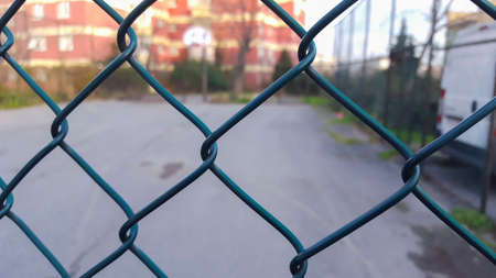 wire fence: Metallic wire fence