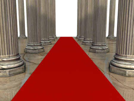 red carpet and columns