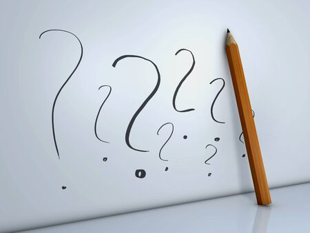 pencil and question mark Stock Photo - 9912373