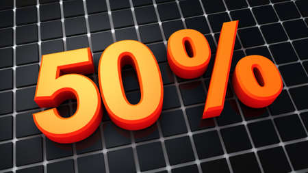 fifty percent and black background Stock Photo - 9912377