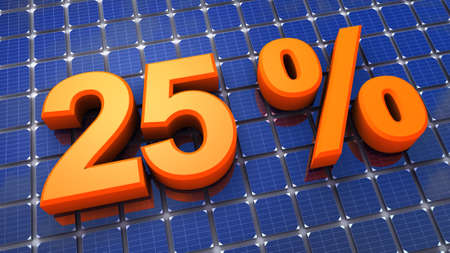twenty-five percent and solar background Stock Photo - 9912379