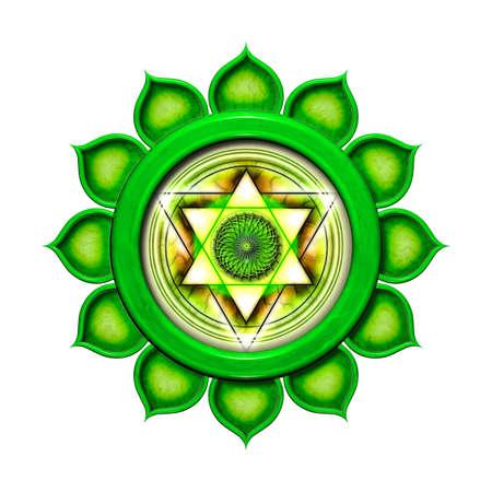 chakra: Le chakra du coeur isol� Banque d'images