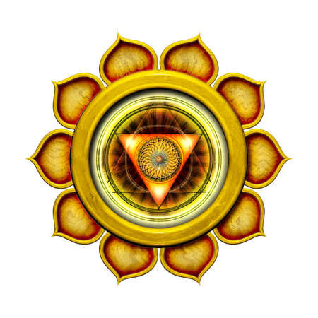 chakra: Le chakra du plexus solaire Isol� Banque d'images