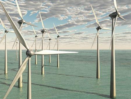 Wind Power Farm In The Ocean Stock Photo - 18135613