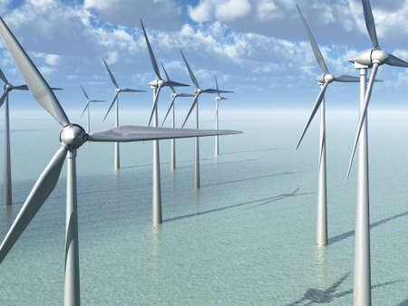 Wind Power Farm In The Ocean Stock Photo