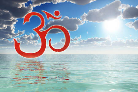 Om Symbol On The Ocean Stock Photo