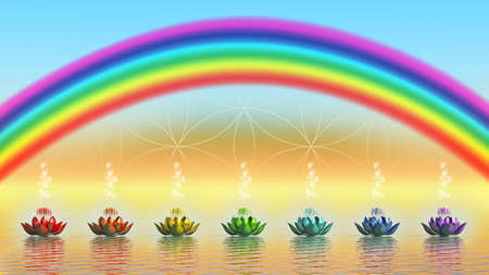 chakra energy: Chakra Lotus And Rainbow