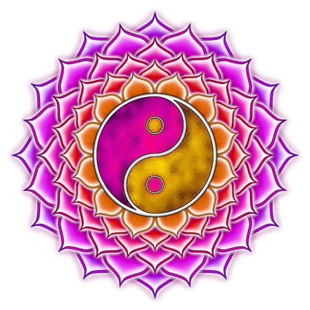 yin yang: Yin Yang Lotus Mandala Stock Photo