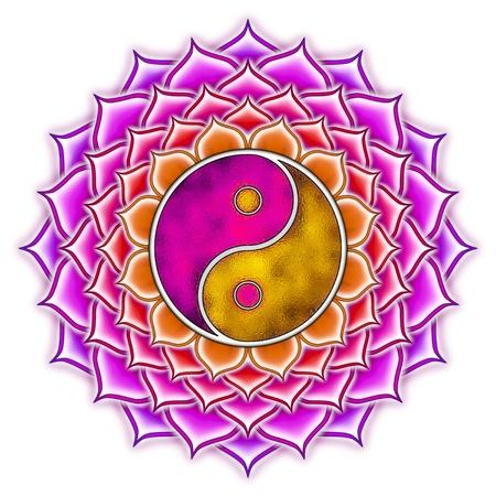 Yin Yang Lotus Mandala Standard-Bild