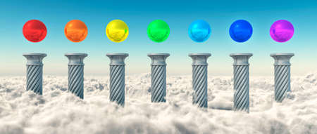 balance rainbow colors: Chakra Spheres