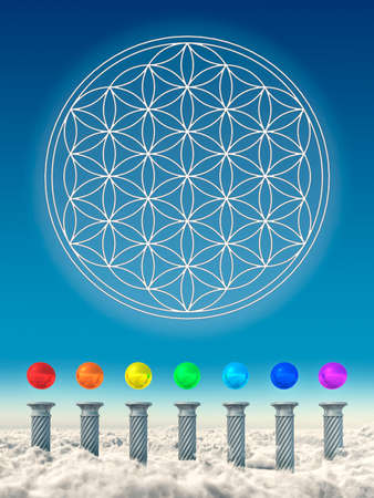 Chakra Spheres And Flower Of Live Stock Photo - 24053424