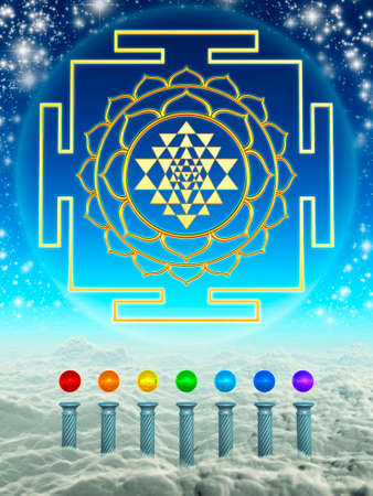 Chakra Spheres And Sri Yantra Stock Photo