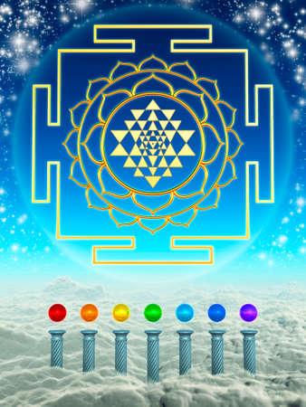 shree: Chakra Spheres And Sri Yantra Stock Photo
