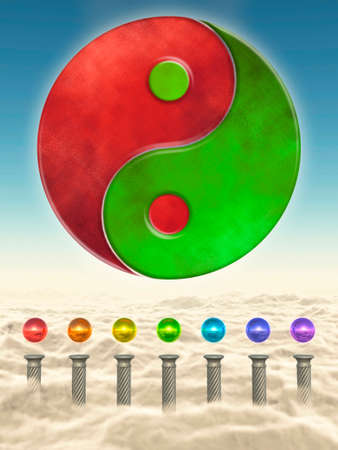 Chakra Spheres And Yin Yang Stock Photo - 24053426