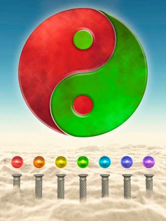 Chakra Spheres And Yin Yang Stock Photo - 24053426