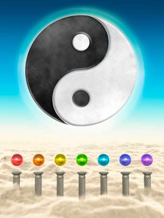 Chakra Spheres And Yin Yang Stock Photo - 24053427