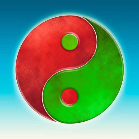 Yin Yang Green Red Stock Photo