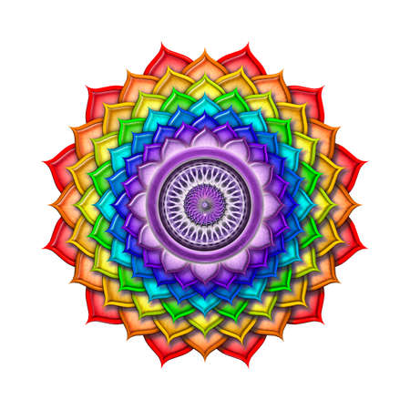 chakra energy: Crown Chakra Rainbow Colors isolated