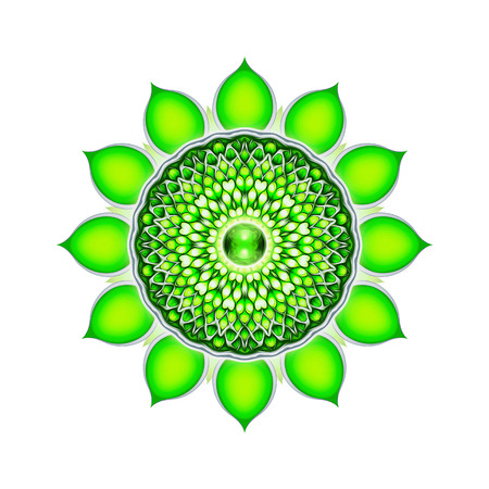anahata: Heart Chakra Mandala Stock Photo