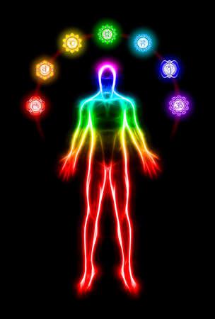 crown chakra: Body Meditation With Chakras Stock Photo