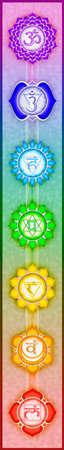 상징: 일곱 주요 차크라 스톡 사진