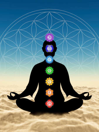 Meditation With Chakras Above Clouds Stock Photo