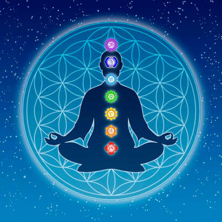 esoteric: Body Meditation With Chakras Stock Photo