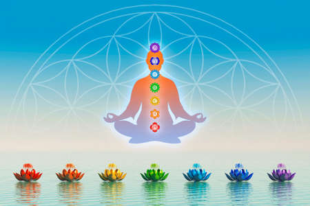 seven: Body Meditation With Chakras Stock Photo