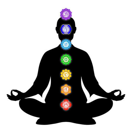 chakra energy: Body Meditation With Chakras Stock Photo