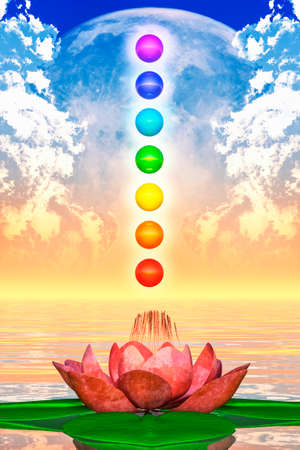 color healing: Sacred Lotus And Chakra Spheres Stock Photo