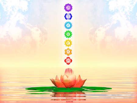 balance rainbow colors: Sacred Lotus And Chakras
