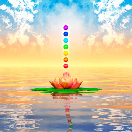 chakra energy: Sacred Lotus And Chakra Spheres Stock Photo