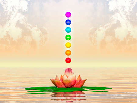 sacred lotus: Sacred Lotus And Chakra Spheres Stock Photo