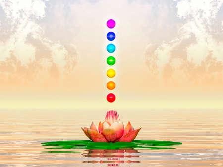 crown chakra: Sacred Lotus And Chakra Spheres Stock Photo
