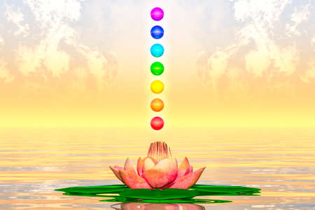 Sacred Lotus And Chakra Spheres Stock Photo