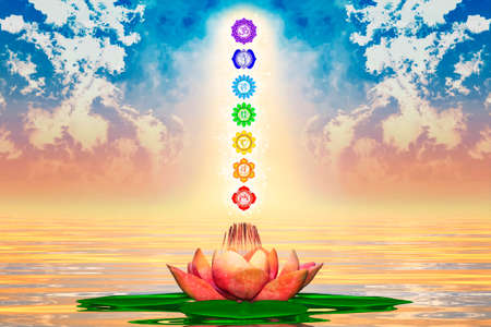 lotus background: Sacred Lotus And Chakras