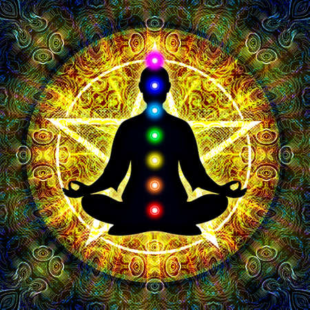 meditation man: In Meditation With Chakras