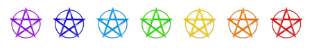 pentagram: Chakra Colors Pentagram Stock Photo