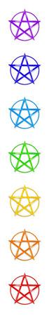 Chakra Colors Pentagram Stock Photo