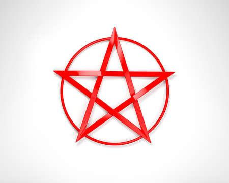 pentagram: Red Pentagram Stock Photo