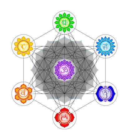 sacre coeur: Metatron`s Cube Et Chakras Banque d'images