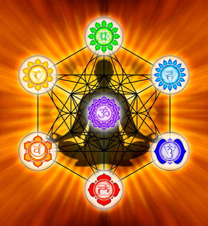 sacred heart: Metatron`s Cube And Chakras
