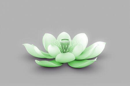 Lotus Flower In Chakra Color Green Standard-Bild