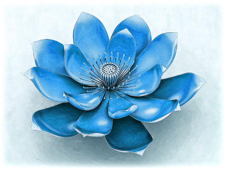 Lotus Flower With Chakra Color Blue Stock Photo