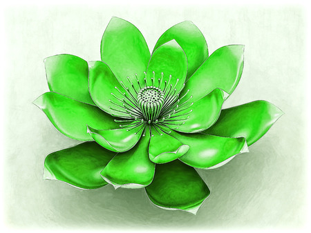 Lotus Flower With Chakra Color Green
