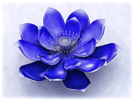 Lotus Flower With Chakra Color Indigo Archivio Fotografico
