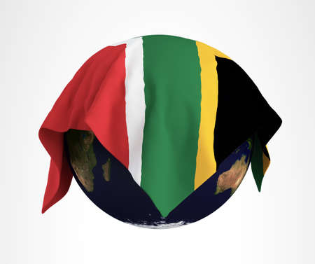 Earth Flag of South Africa 3D Render Hi Resolution Stock Photo