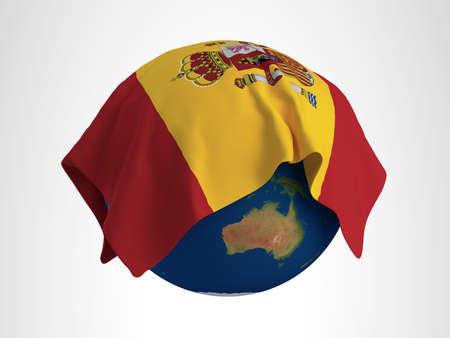 hi resolution: Tierra Bandera de Espa�a Render 3D de alta resoluci�n Foto de archivo