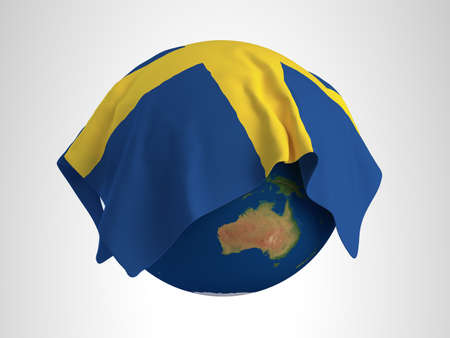 hi resolution: Tierra Bandera de Suecia Render 3D de alta resoluci�n
