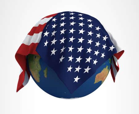 hi resolution: Tierra Bandera de EE.UU. Render 3D de alta resoluci�n Foto de archivo